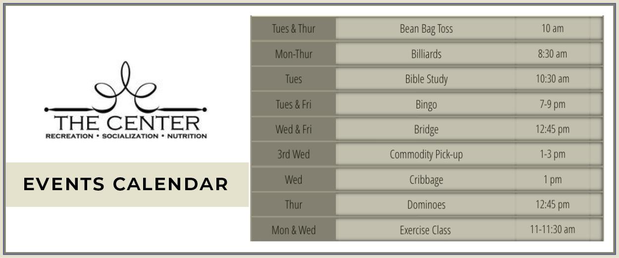 The Center Events Calendar