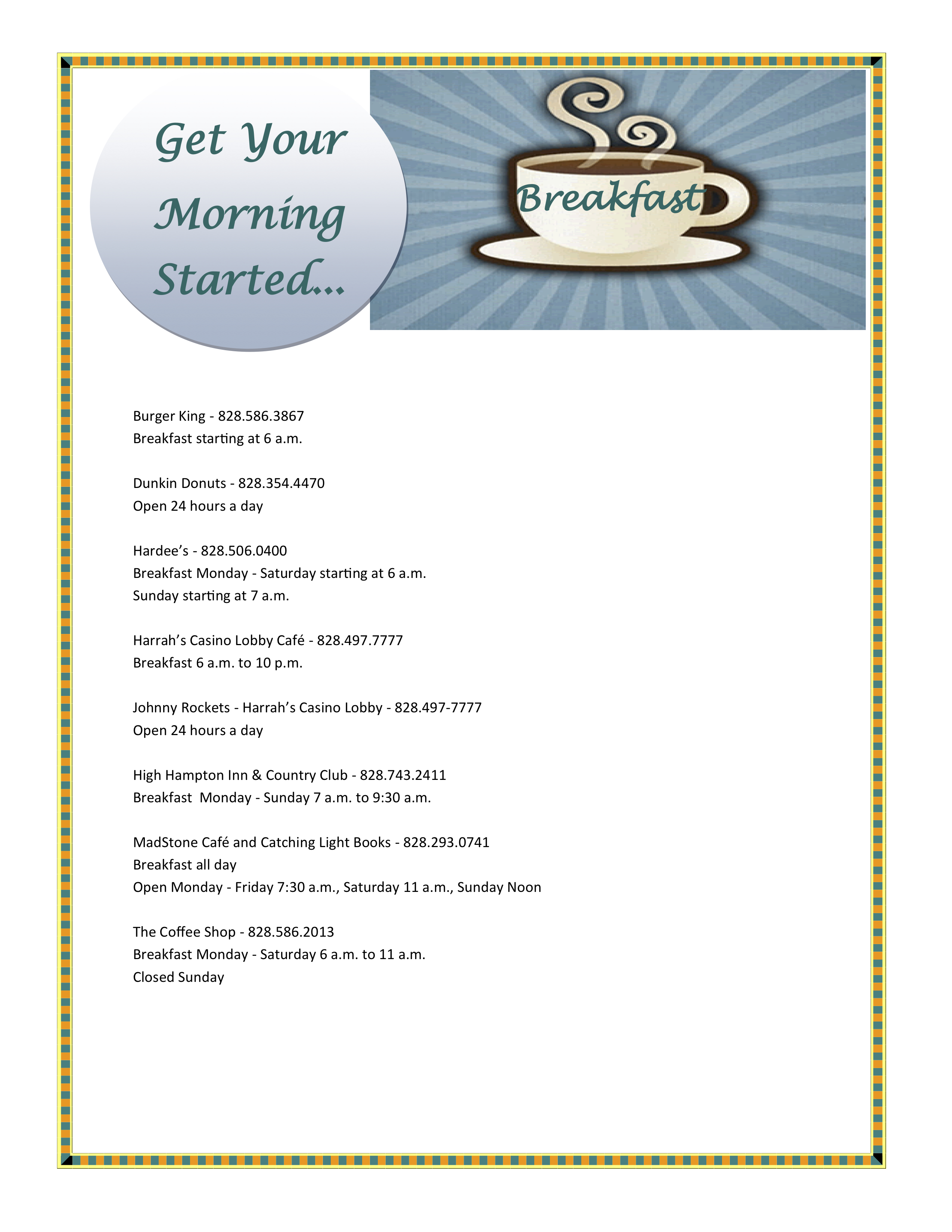Brunch and Breakfast List - Jackson County Chamber & Visitor Center, NC