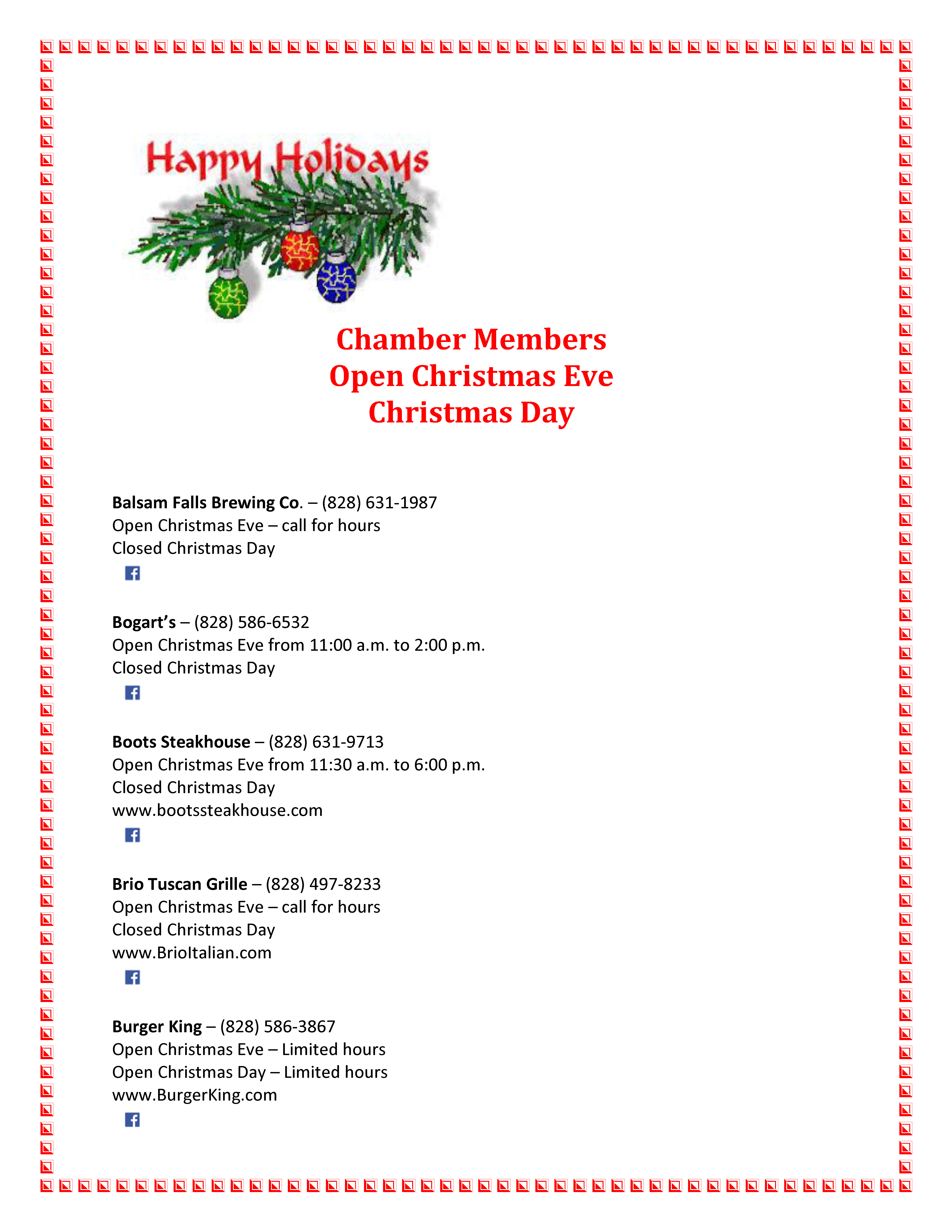 Restaurants serving Christmas Eve and Christmas Day meals - Jackson ...