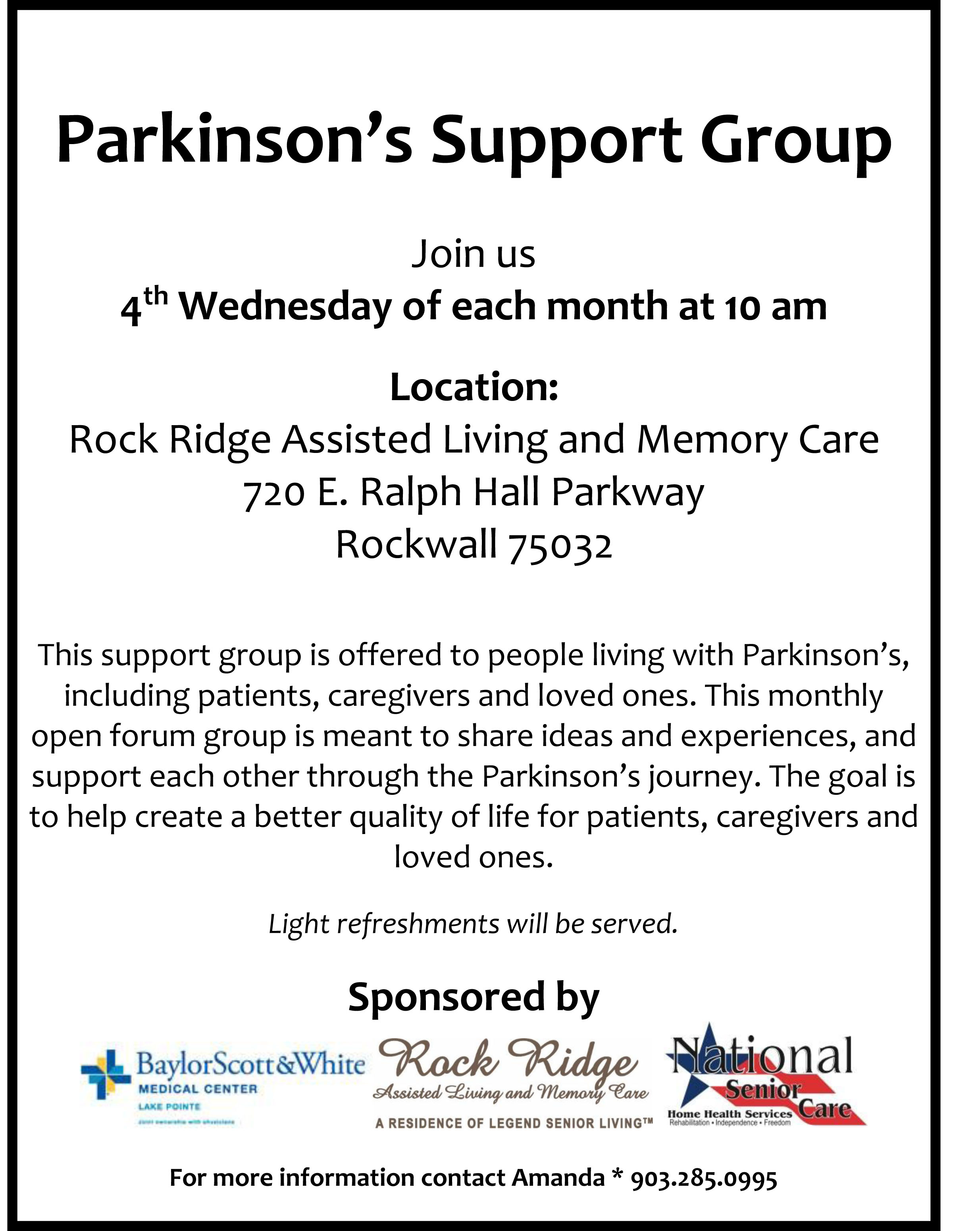 Parkinson\'s Support Group - Sep 26, 2018 - Rockwall Area Chamber of ...