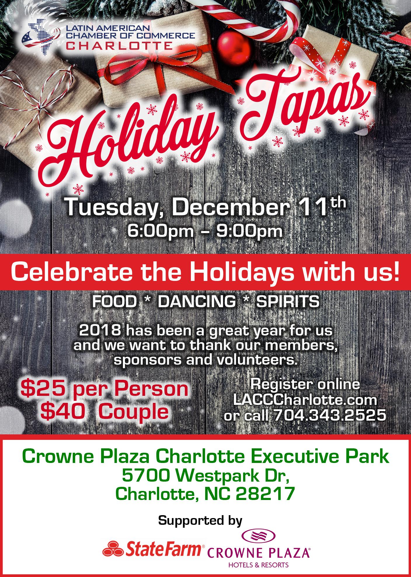 Latin American Chamber of Commerce - Holiday Tapas 2018 at Crowne Plaza Charlotte Executive Park @ Crowne Plaza Charlotte Executive Park   Charlotte   North Carolina   United States