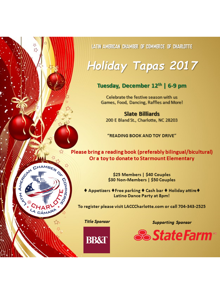 Latin Amercian Chamber of Commerce of Charlotte - Holiday Tapas 2017 @ Slate Billiards | Charlotte | North Carolina | United States