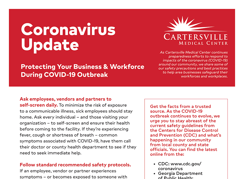 Protecting Your Business & Workforce Flyer - Click Here to View
