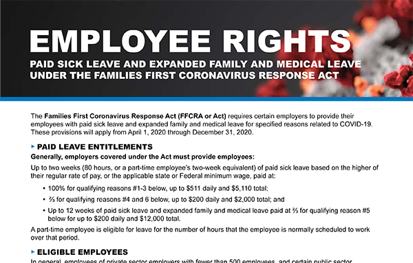 Families First Coronavirus Response Act, Employees Rights Poster - Click here to view