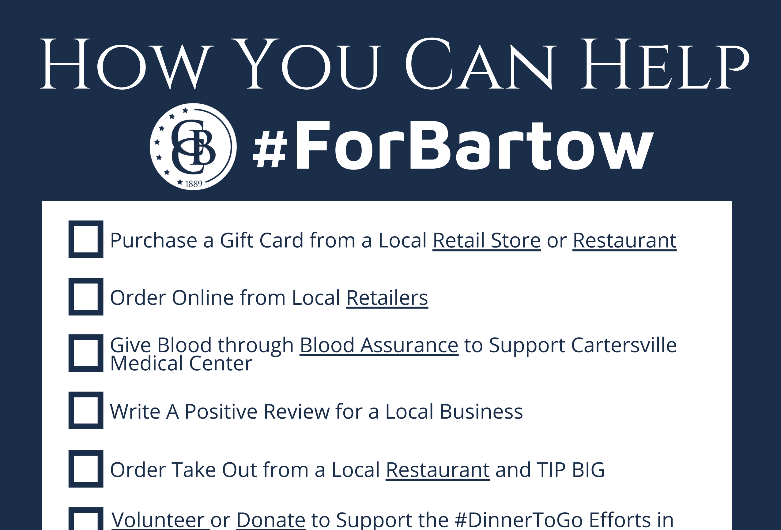 Download your checklist to start helping the community! #ForBartow