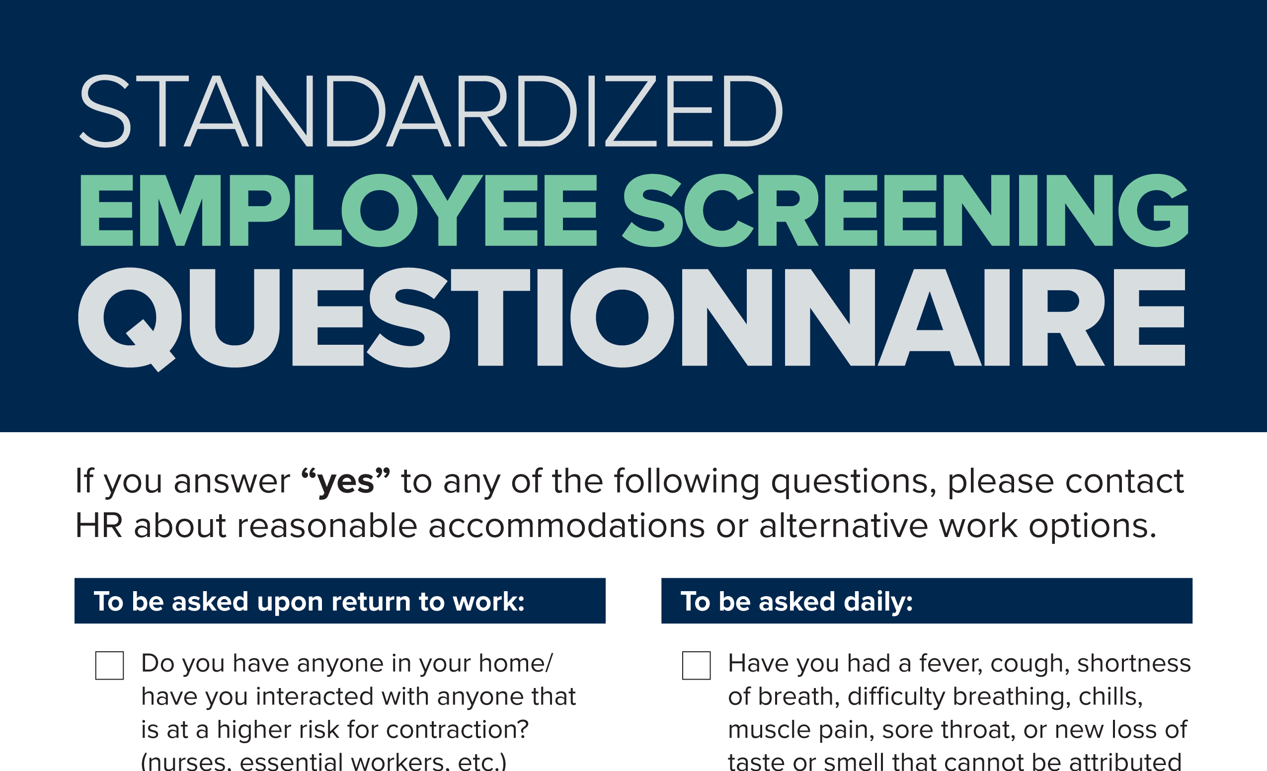Standardized Employee Screening Questionnaire