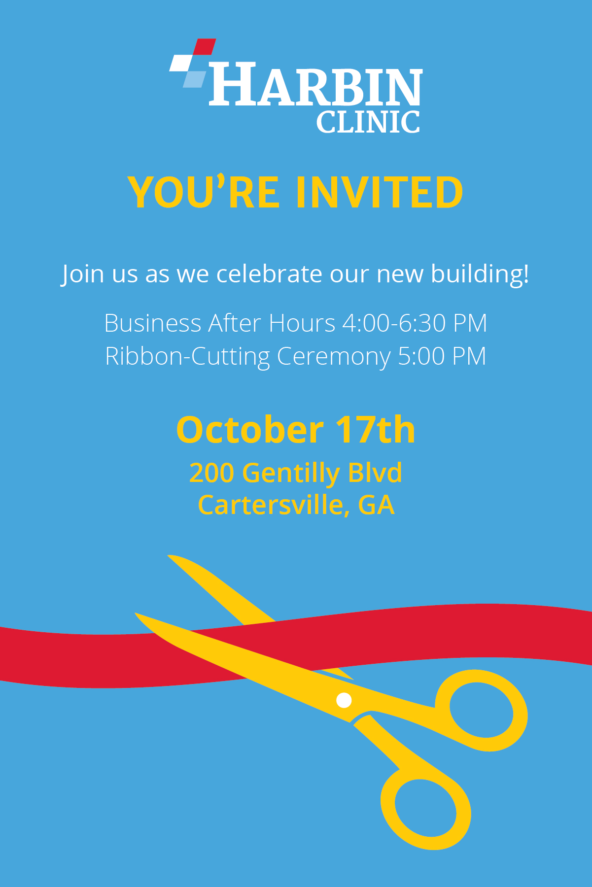 Harbin Clinic - You're Invited: Join us as we celebrate our new building! Business After Hours 4:00-6:30 PM, Ribbon-Cutting Ceremony 5:00 PM. October 17th at 200 Gentilly Blvd, Cartersville, GA