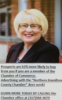 """dProspects are 63% more likely to buy from you if you are a member of the Chamber of Commerce. Advertising with the """"Northern Hamilton County Chamber"""" does work!  LEARN MORE TODAY BY CALLING the Chamber office at (317)984-4079b-ad90-de00a65a9ff8crh-(2).png"""