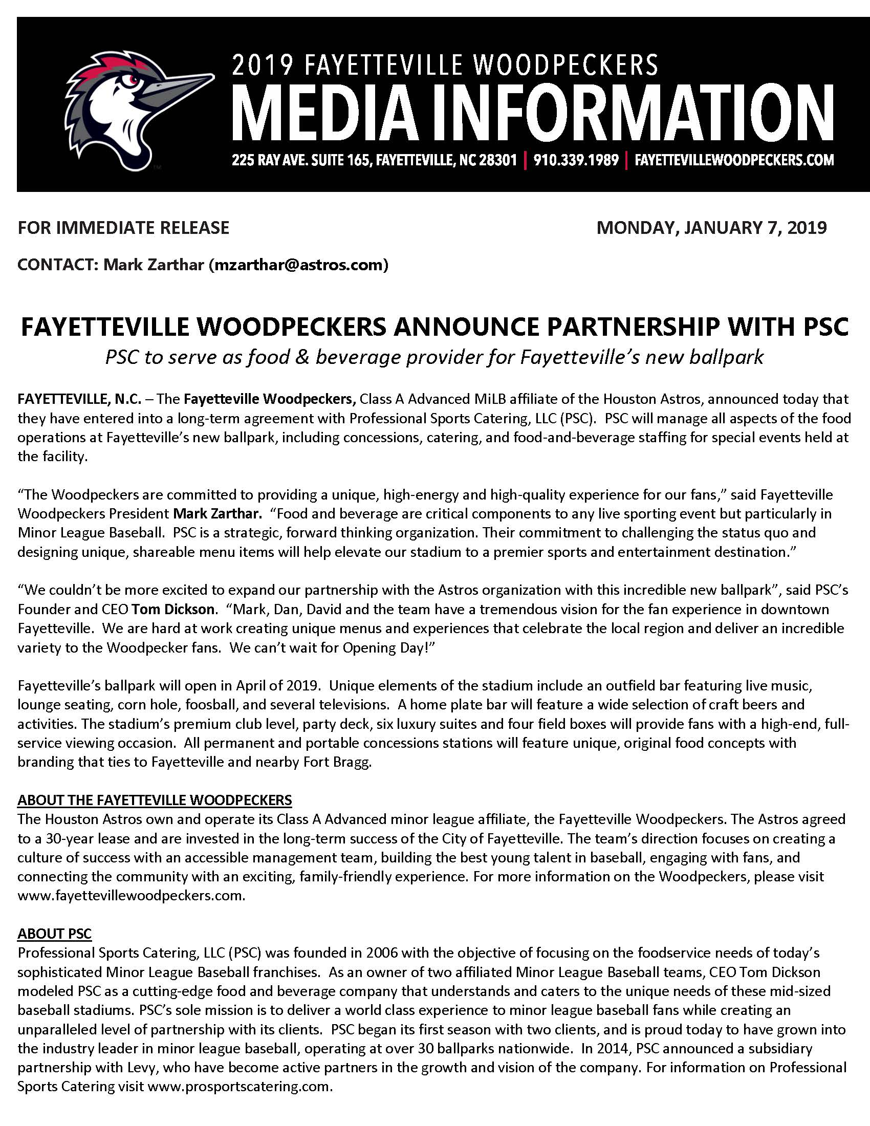 FAYETTEVILLE WOODPECKERS ANNOUNCE PARTNERSHIP WITH PSC