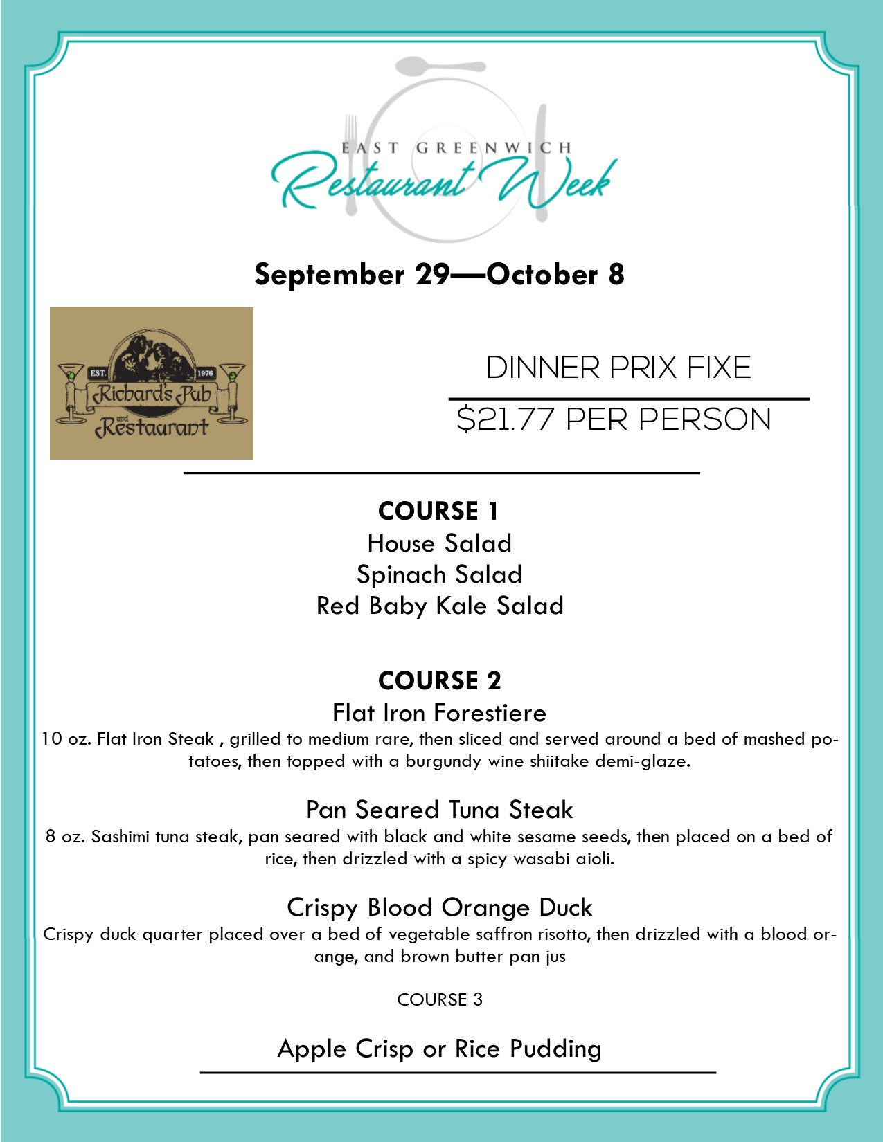 Restaurant Week East Greenwich Ri