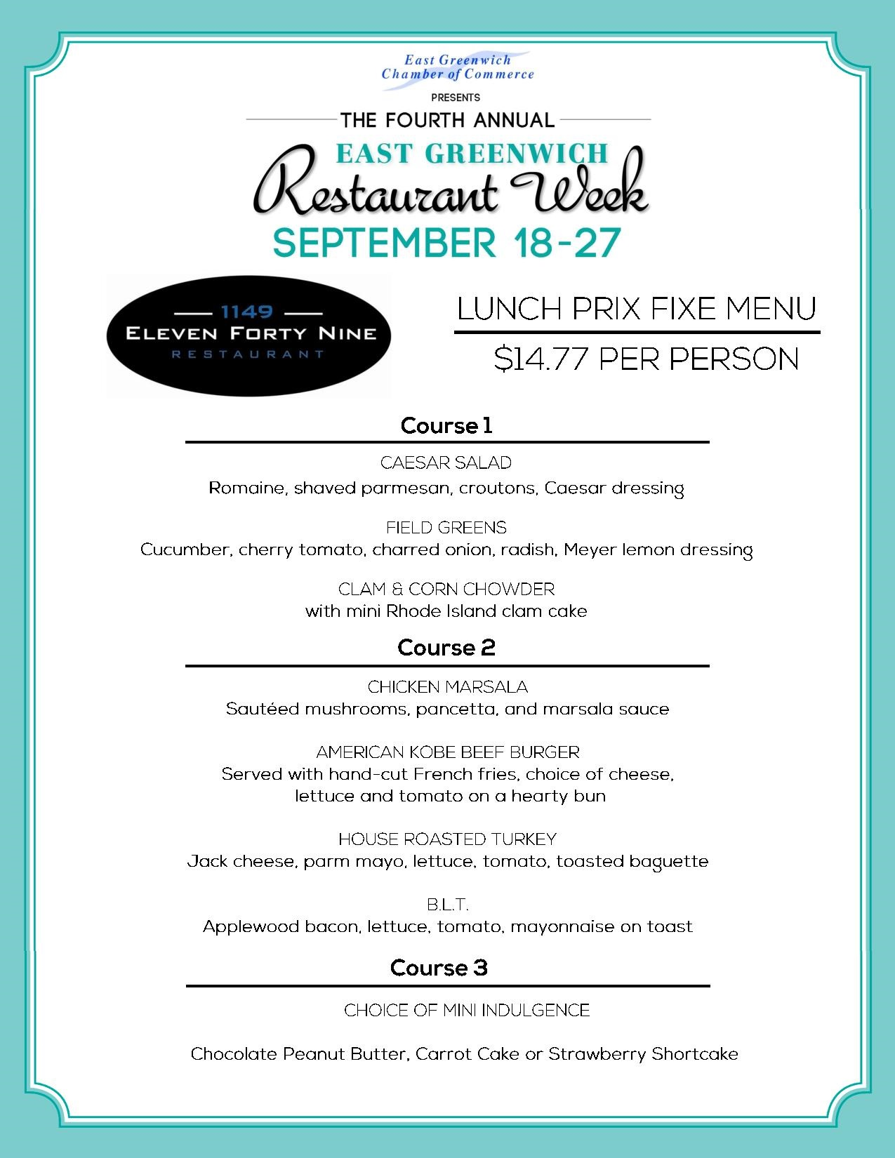 1149 Restaurant Week Menu East Greenwich Chamber Of