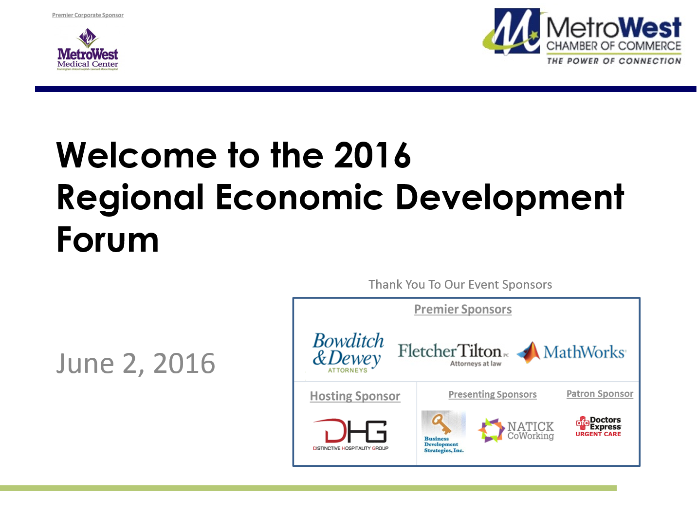 2016 MetroWest Chamber of Commerce Economic Development Forum