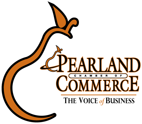 Pearland Chamber of Commerce Logo with big pear