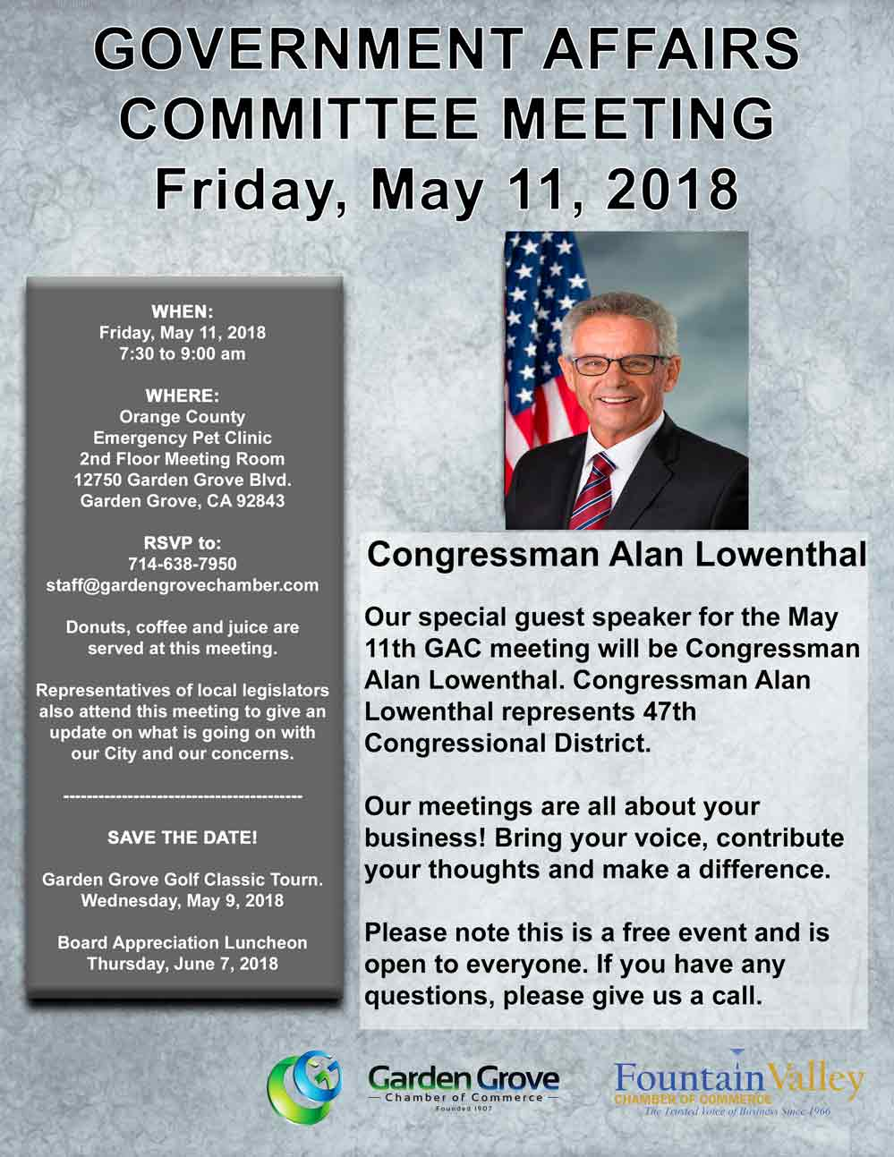 Previous Meetings: April 13th. Senator Josh Newman, 6th Senate District  March 9th. Candidate For Governor Of The State Of California, Assembly  Member Travis ...