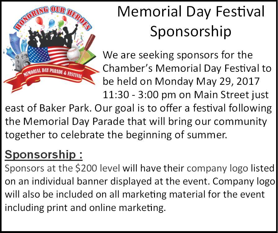 Memorial Day Festival Sponsorship