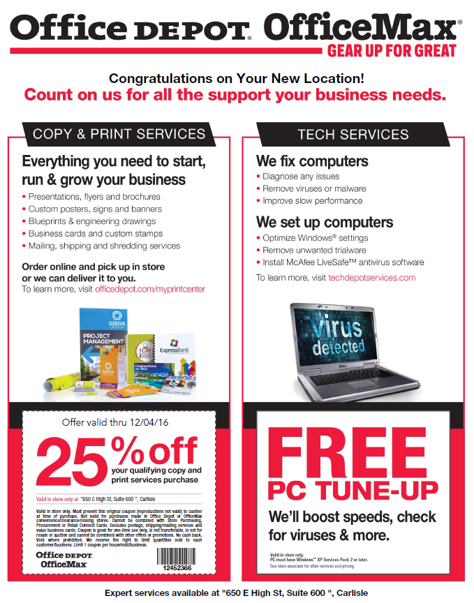 25 Off Couponore At Office Depot Chamber Carlisle Area