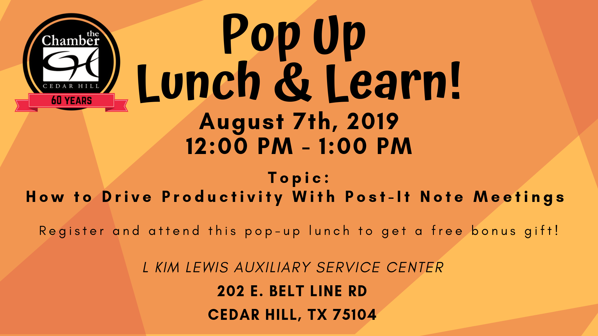 Pop Up Lunch & Learn - Aug 7, 2019 - Public Layout Events