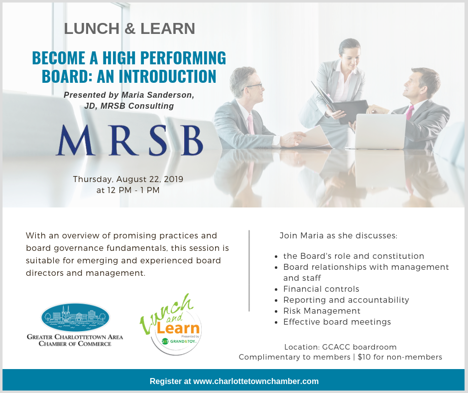 August Lunch & Learn: Become a High Performing Board: An Introduction @ GCACC Boardroom