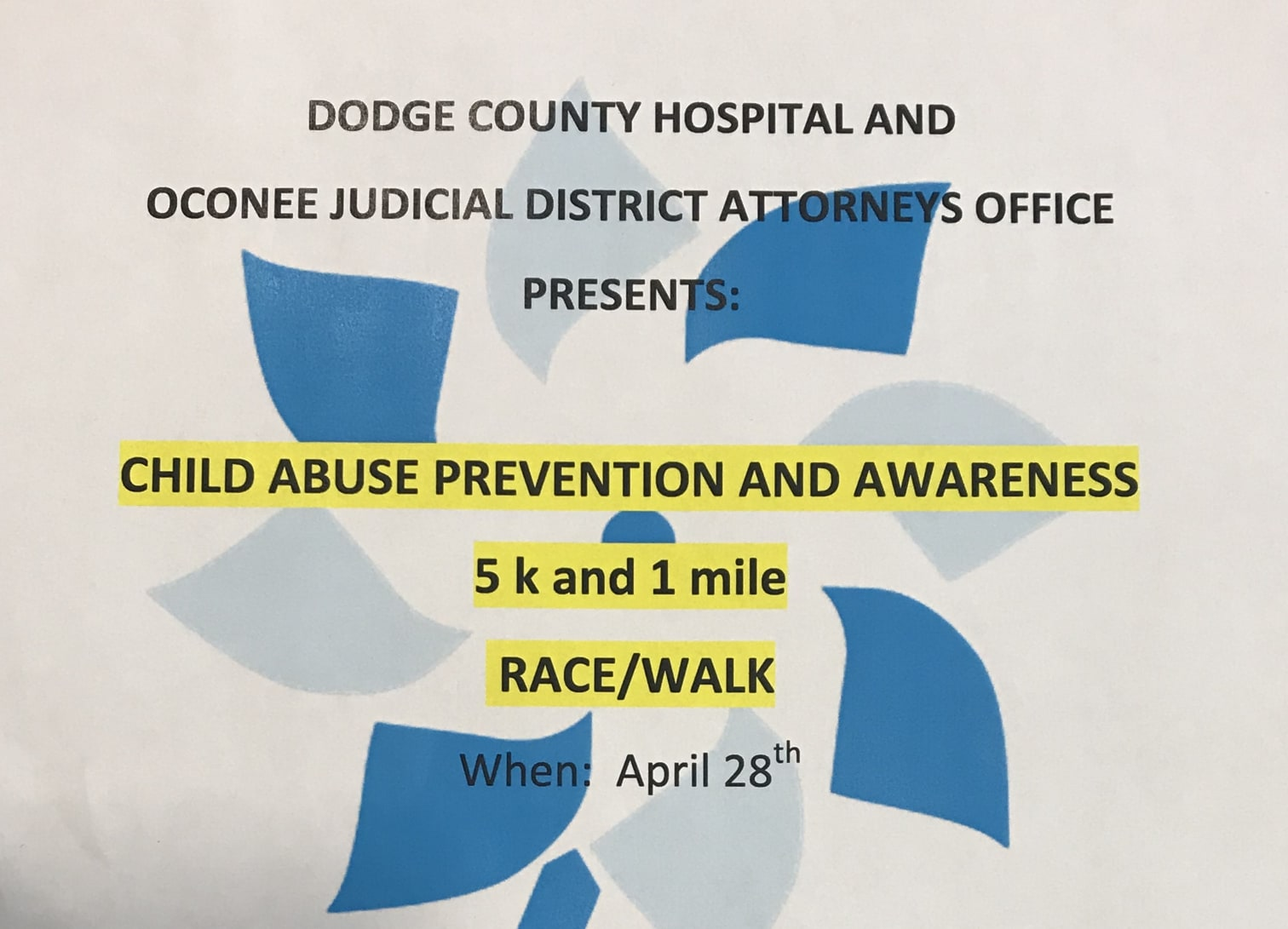 Child Abuse Prevention and Awareness Race/Walk