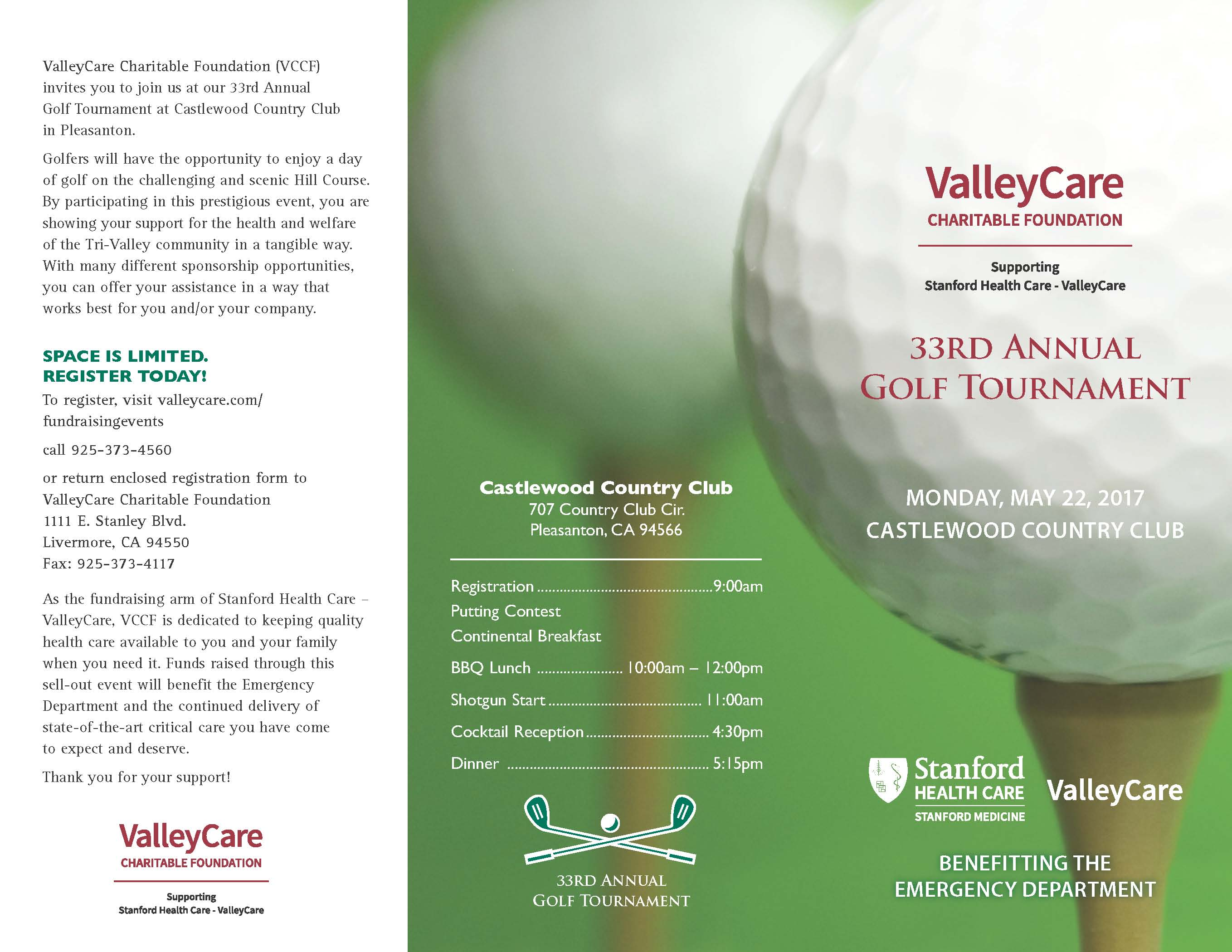 ValleyCare Charitable Foundation 33rd Annual Golf Tournament, May 22
