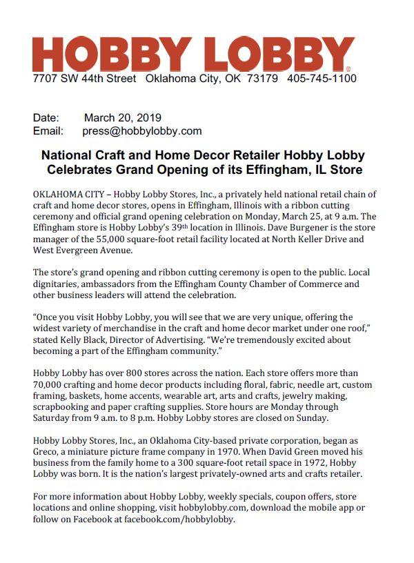 Hobby Lobby Celebrates Grand Opening Of Its Effingham Il Store