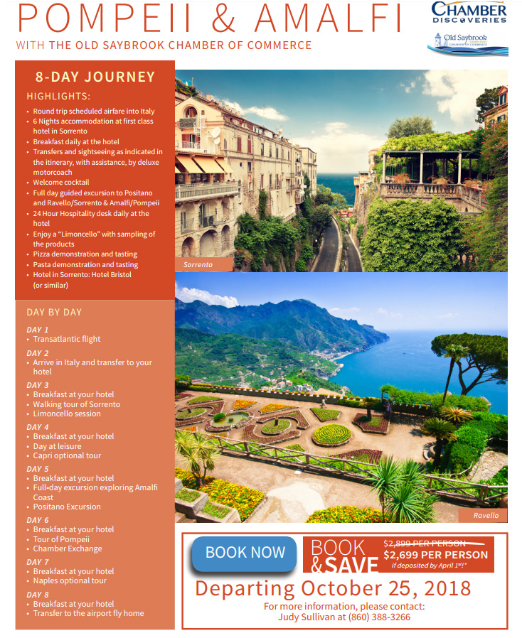 Travel to Pompeii and Amalfi with the Old Saybrook Chamber of Commerce