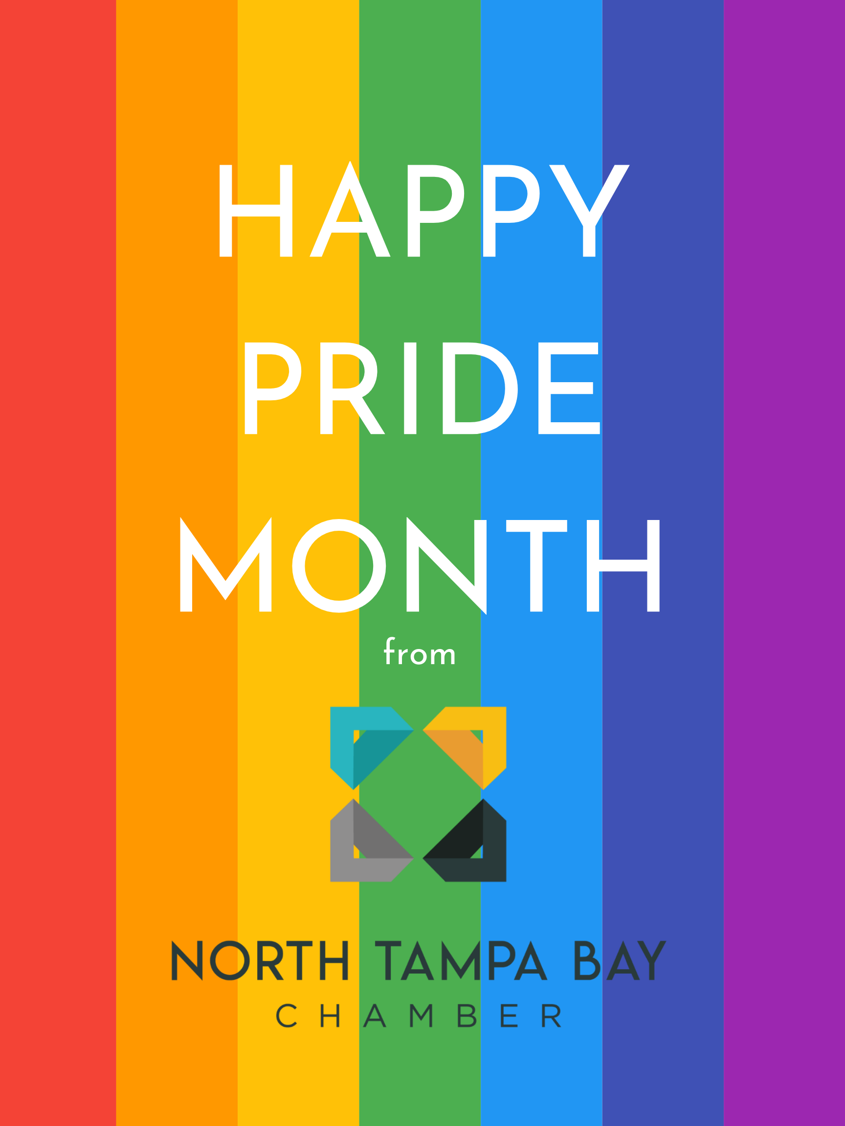 """Rainbow background with text reading """"Happy Pride Month"""" from North Tampa Bay Chamber"""
