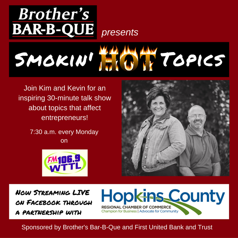 Smokin' Hot Topics, 7:30 a.m. Mondays on 106.9 WTTL - watch it live on the Chamber's Facebook page.