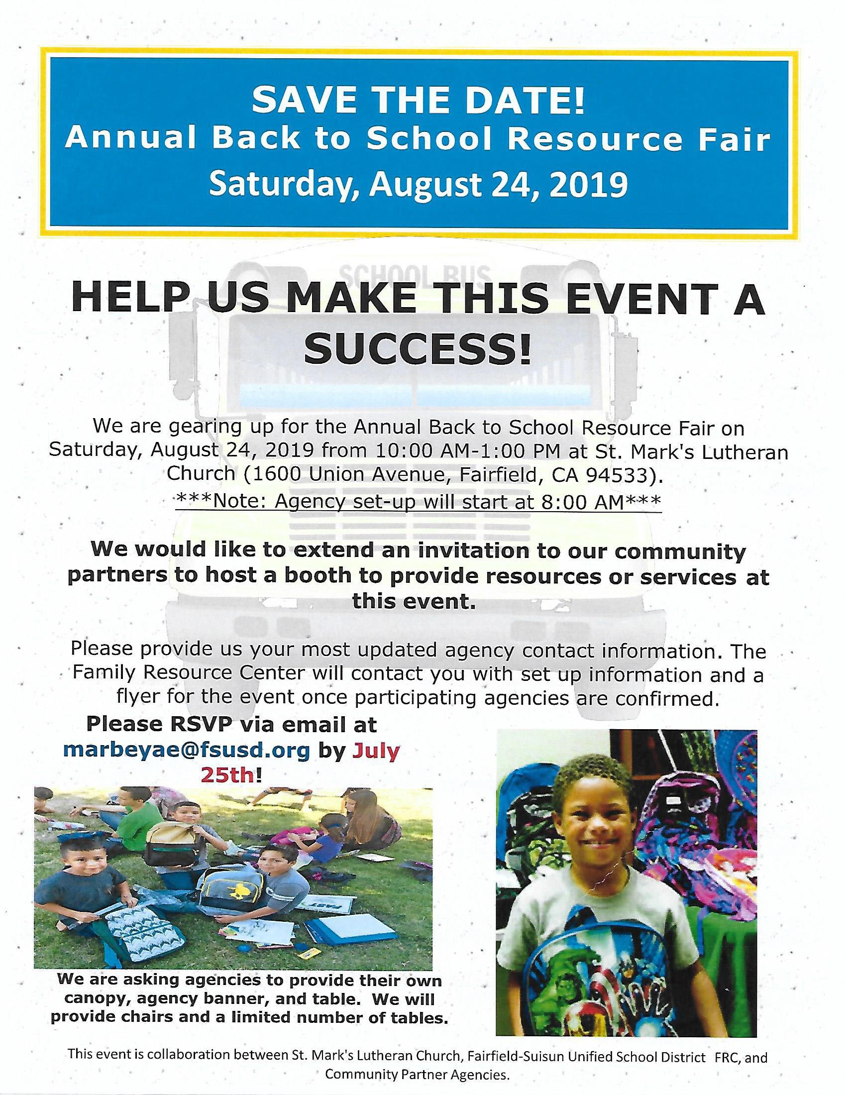 Annual Back to School Resource Fair - Aug 24, 2019