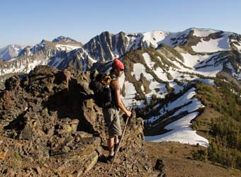 Hiker in the rocky, alpine of the Wallowas