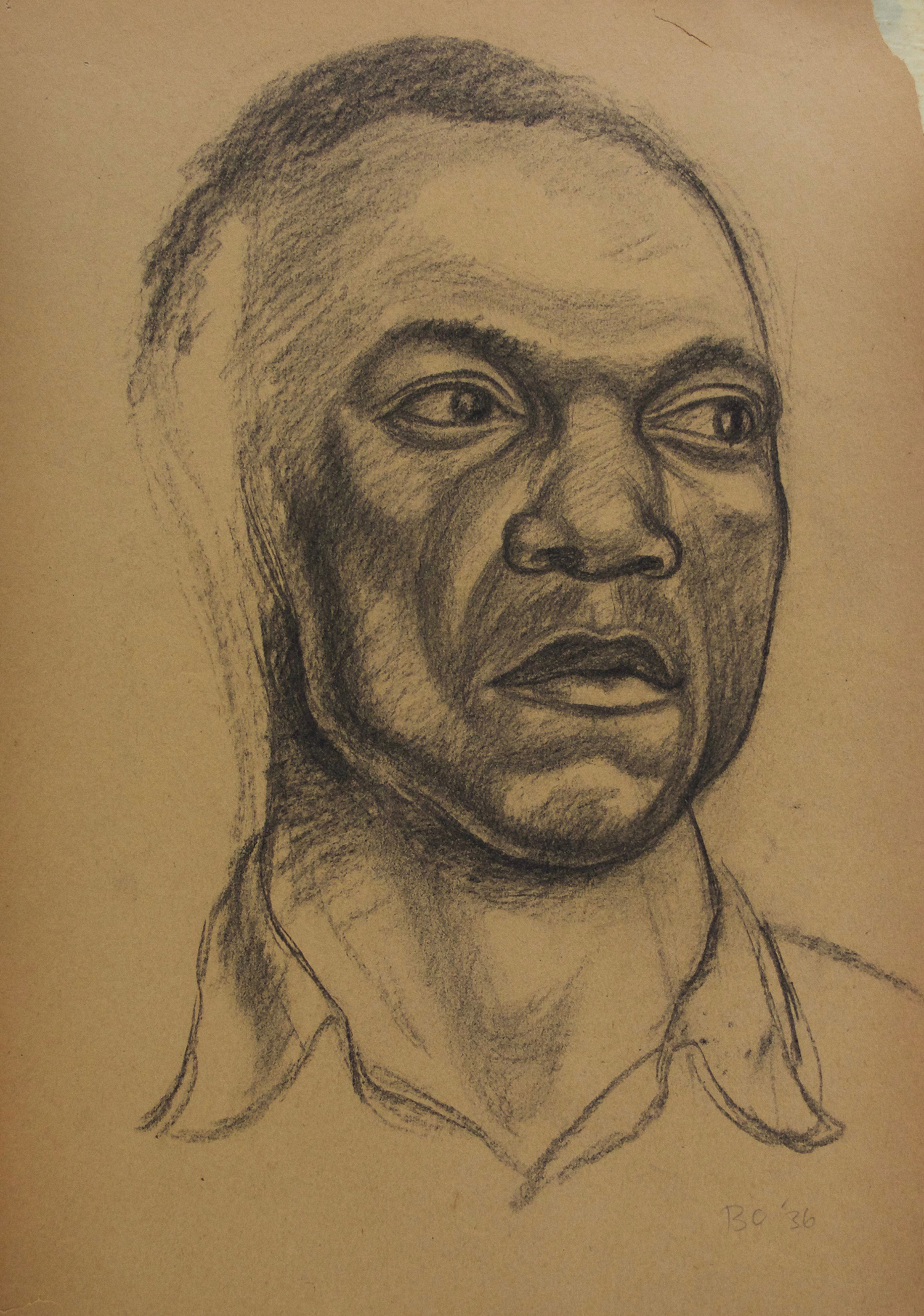 Photo: Burton Callicott, Untitled (Man?s Face), charcoal on paper, 18? x 12?, 1936