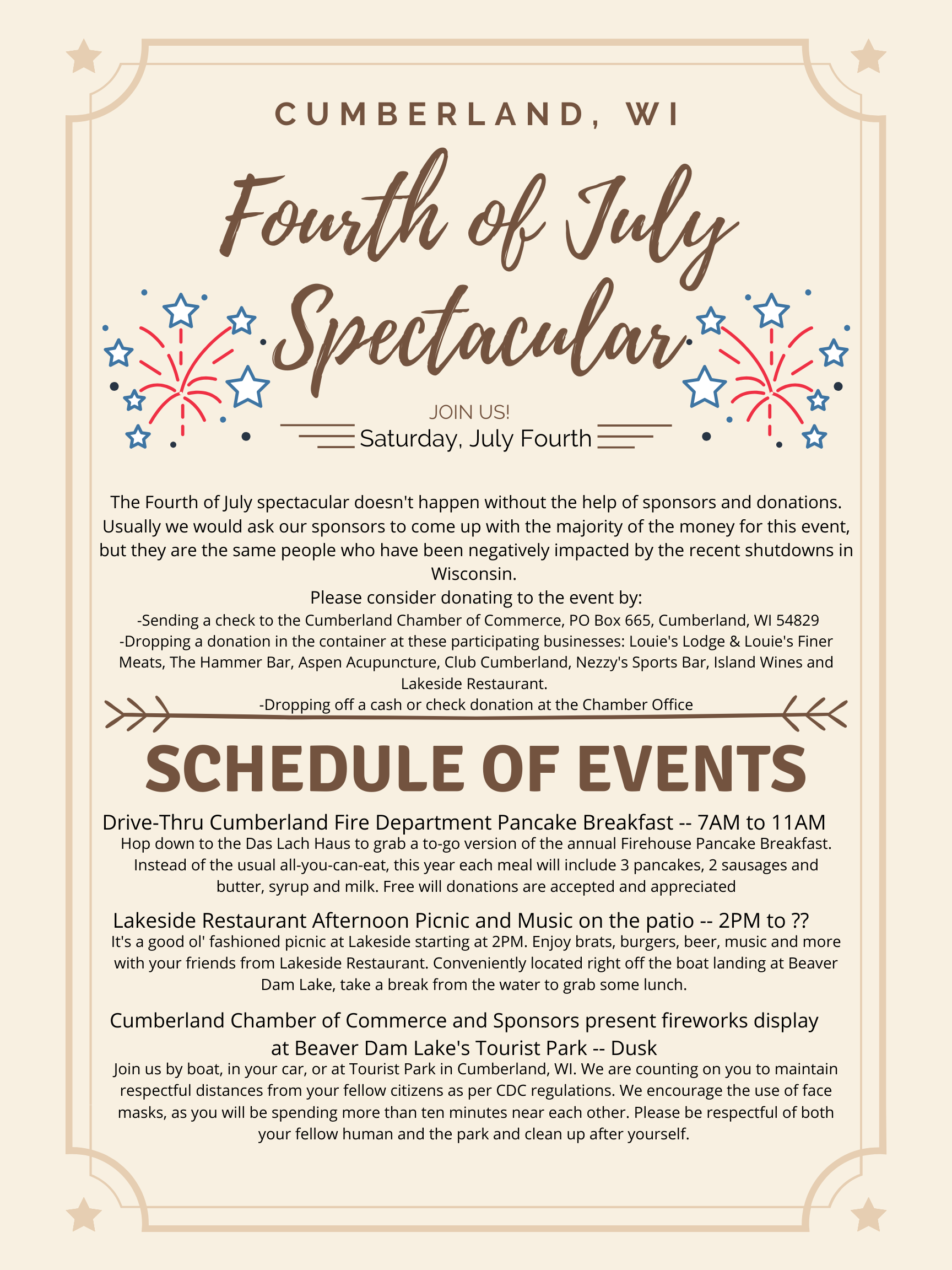 Fourth of July Spectacular schedule of events and donation request poster