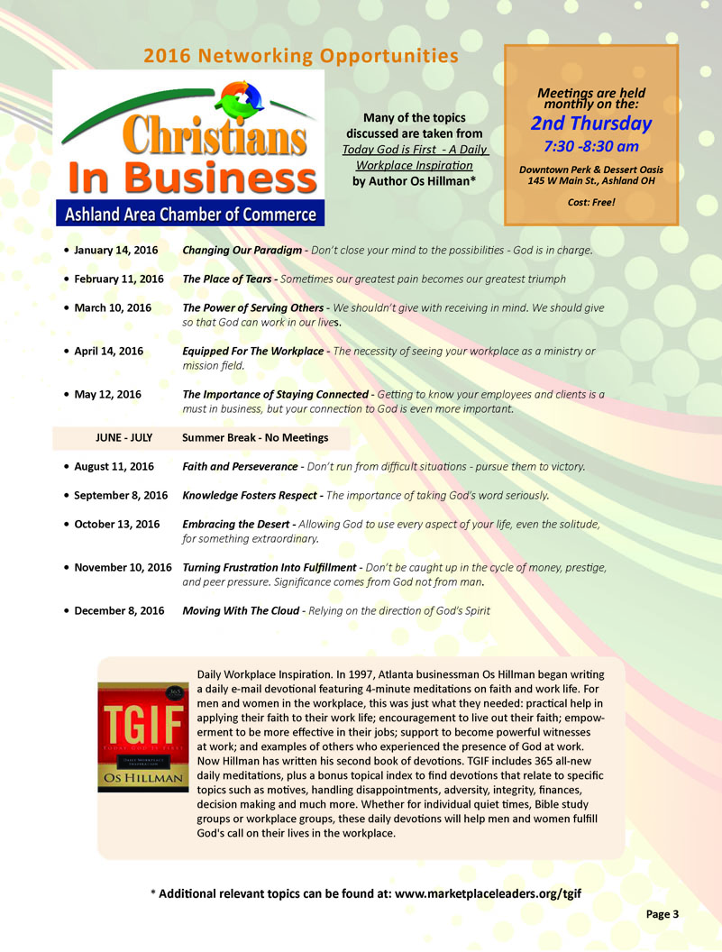 Christains In Business (CIB) Topic Schedule