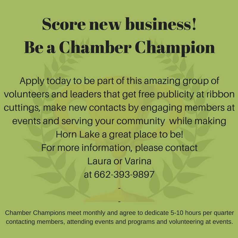 Be a chamber champion. Apply today to be part of this amazing group of volunteers and leaders that get free publicity at ribbon cuttings, make new contacts by engaging members at events and serving your community. For more information please contact Laura or Varina at 662-393-9897.