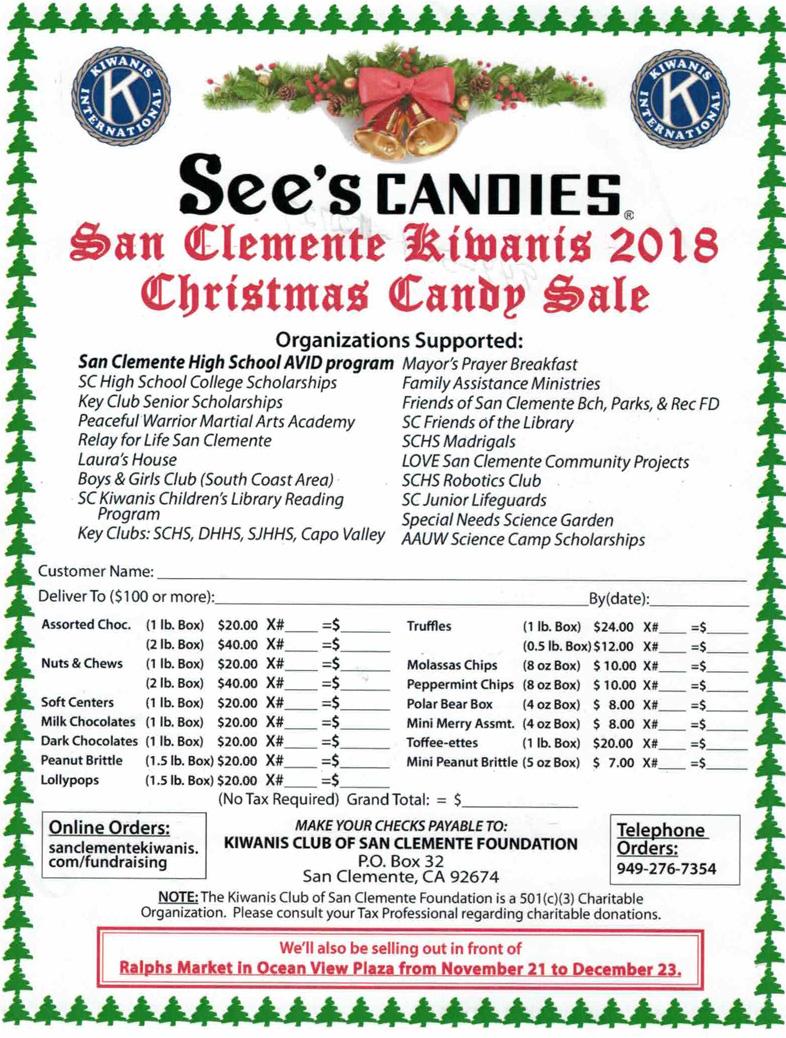 San Clemente Kiwanis Annual See\'s Candies SALE - San Clemente ...