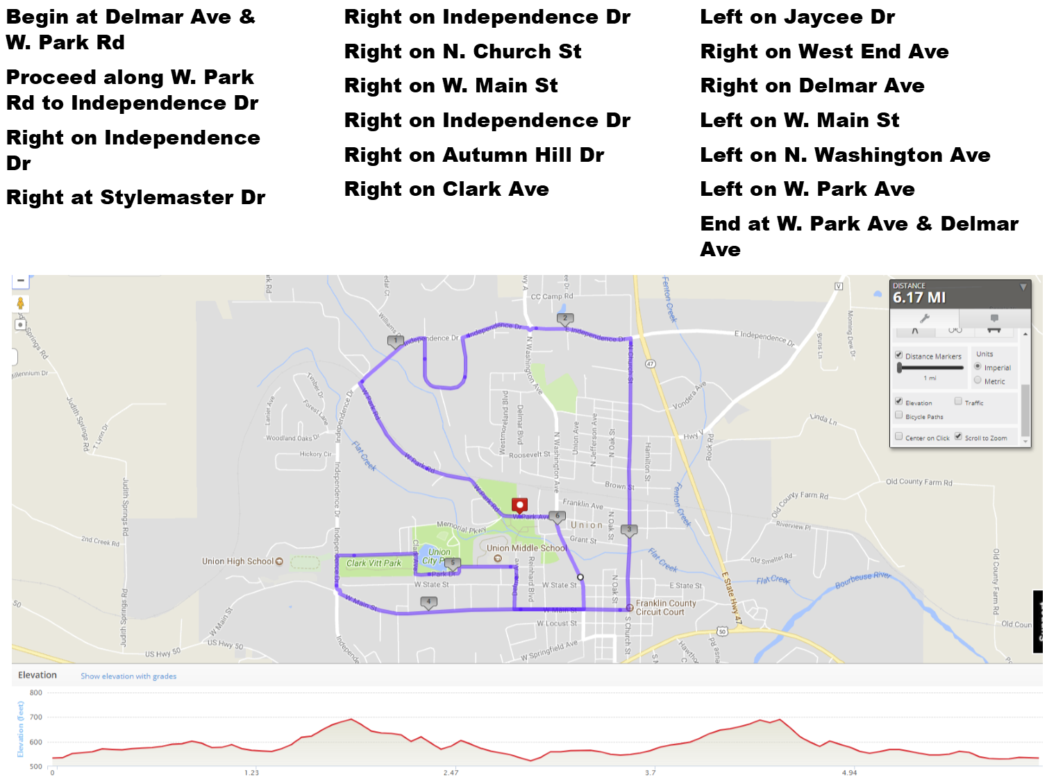 Founders Day 10K route with directions