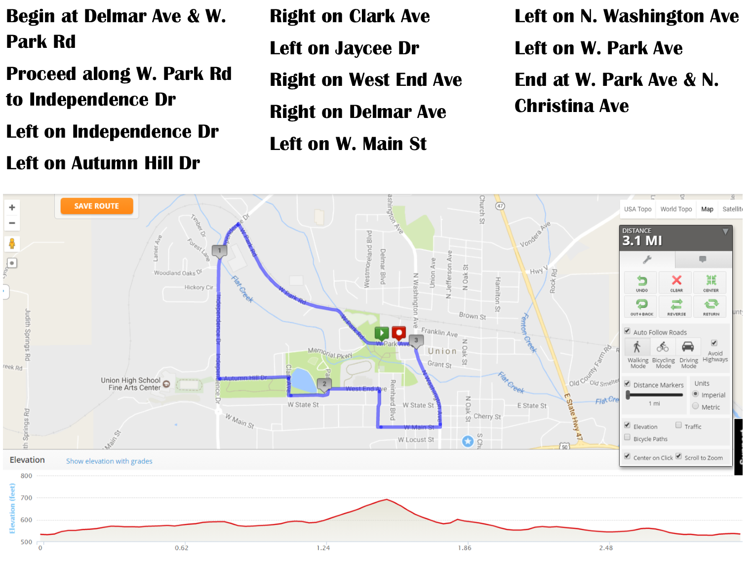 Founders Day 5K route with directions