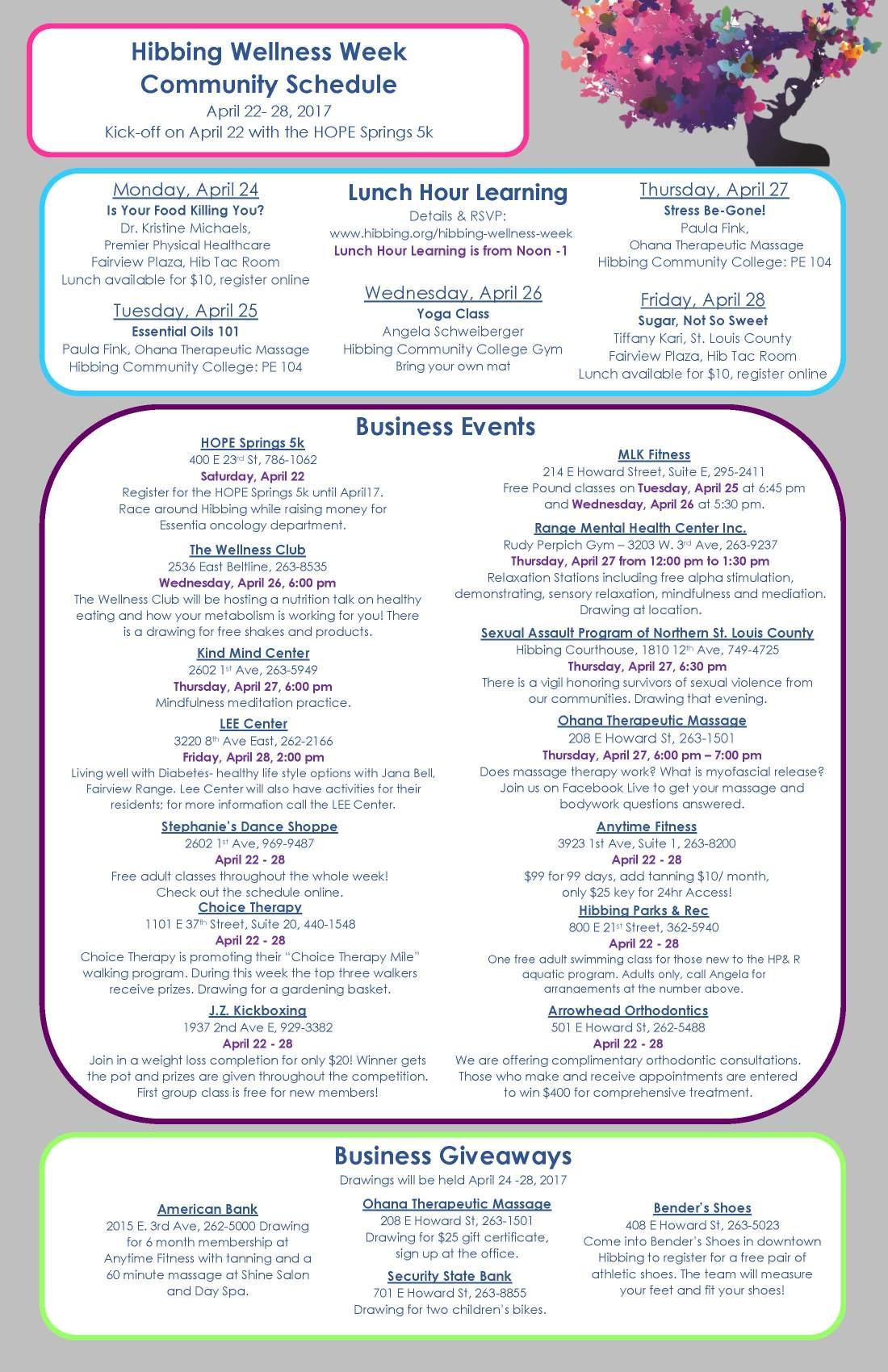 Hibbing Wellness Week - Community Schedule