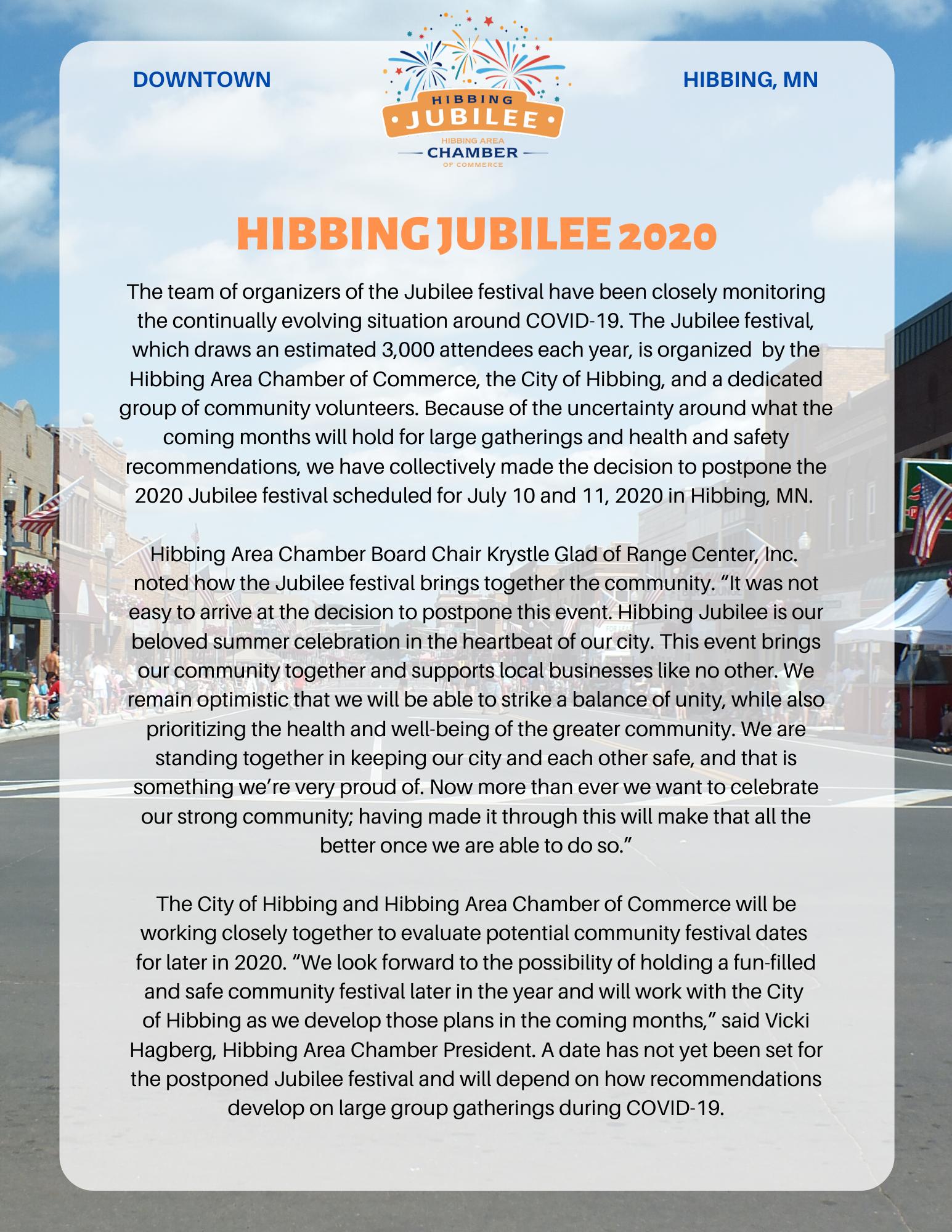 Jubilee 2020 Postpone Announcement