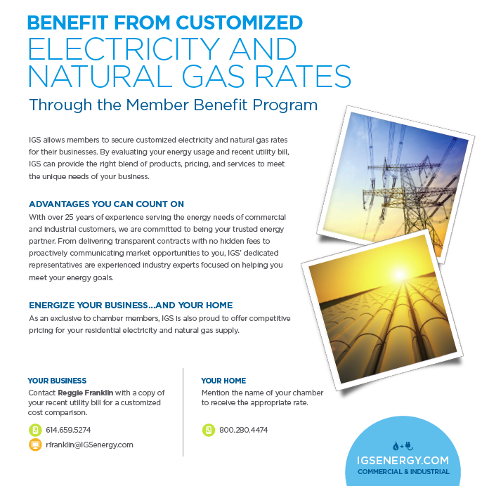 IGS Energy reduced electricity and gas rates chamber savings program