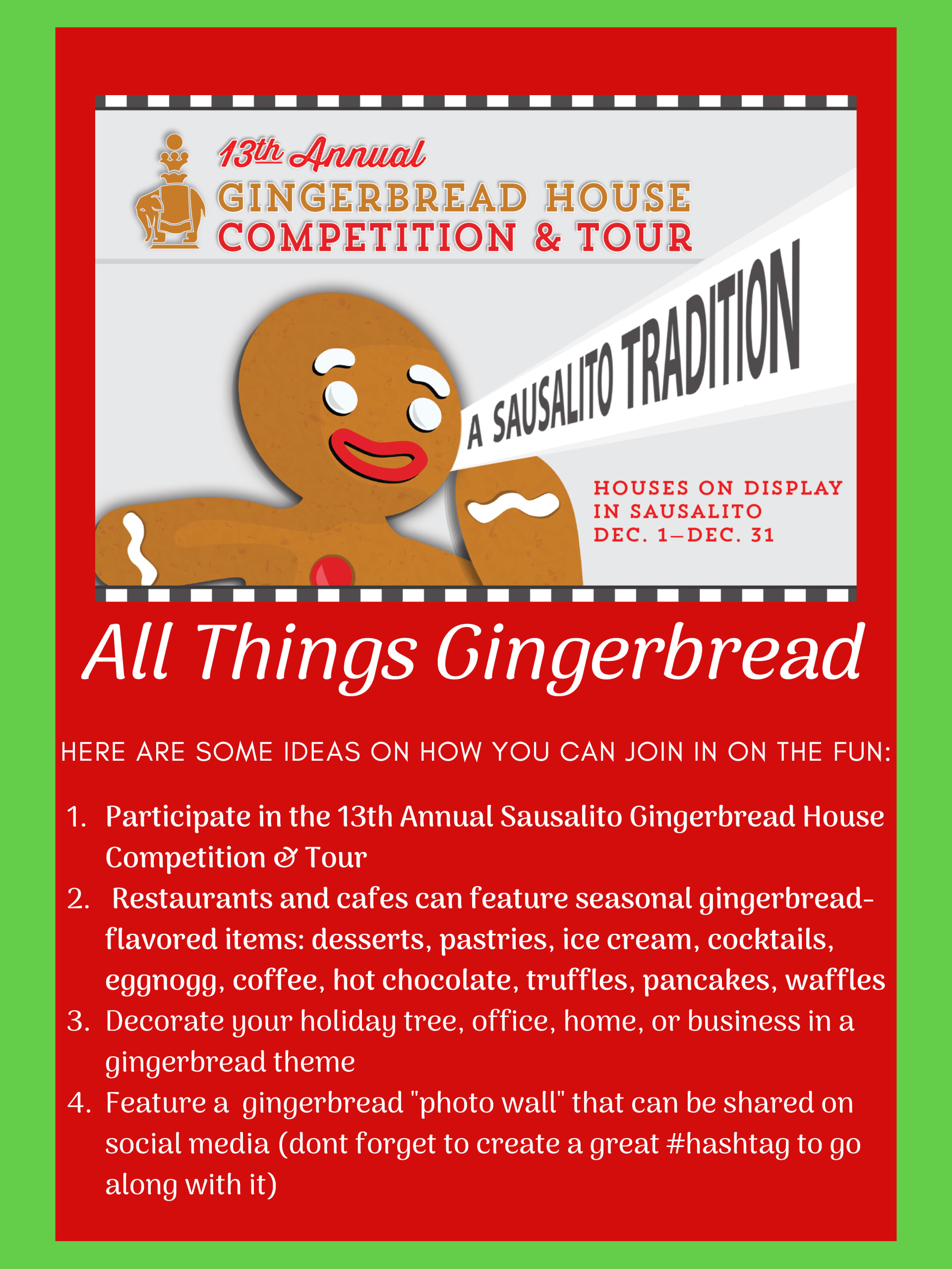 Sausalito Gingerbread House Tour Flyer 2019
