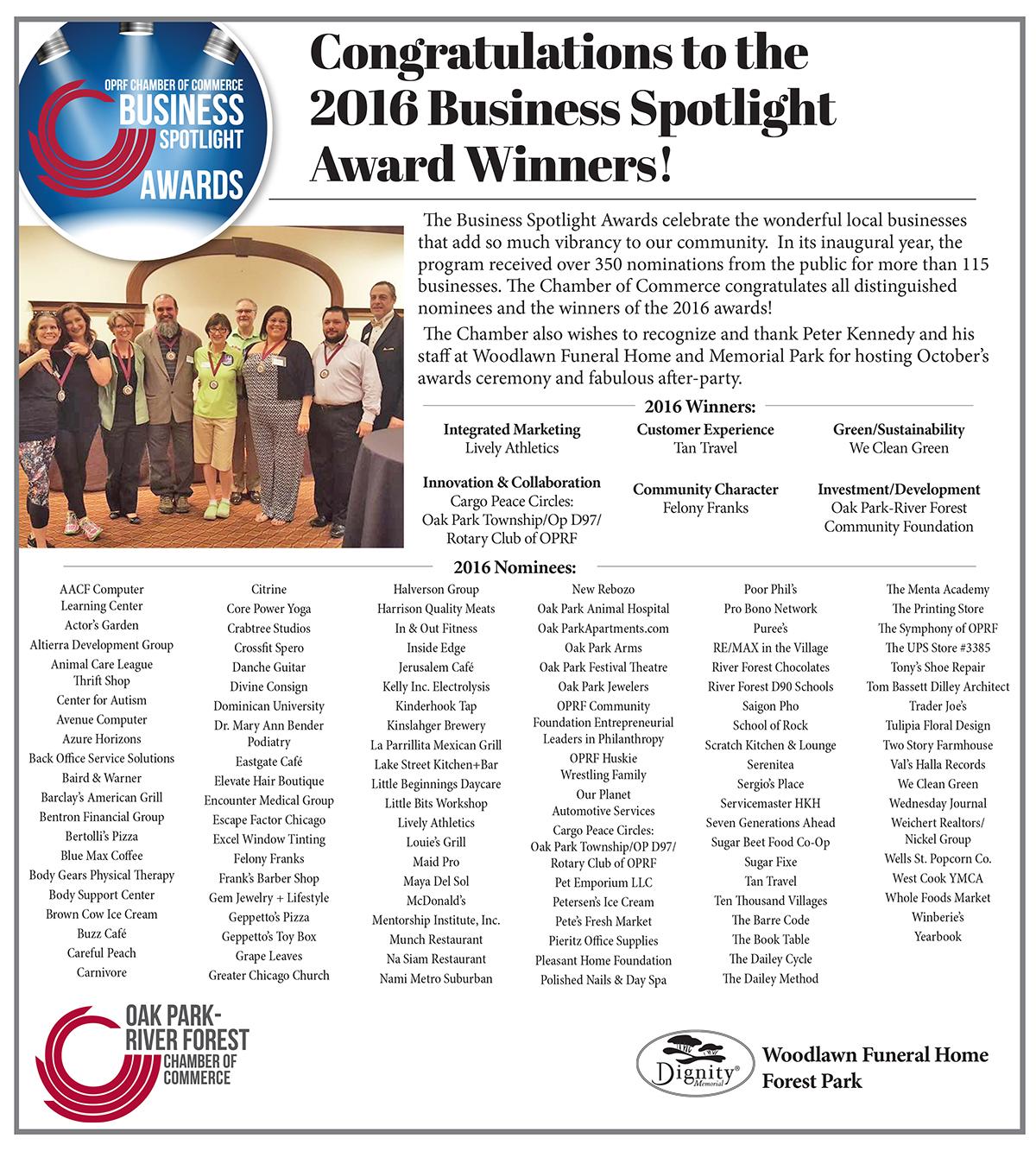 Oak park river forest Chamber_Spotlight Awards Wednesday Journal Ad Woodlawn