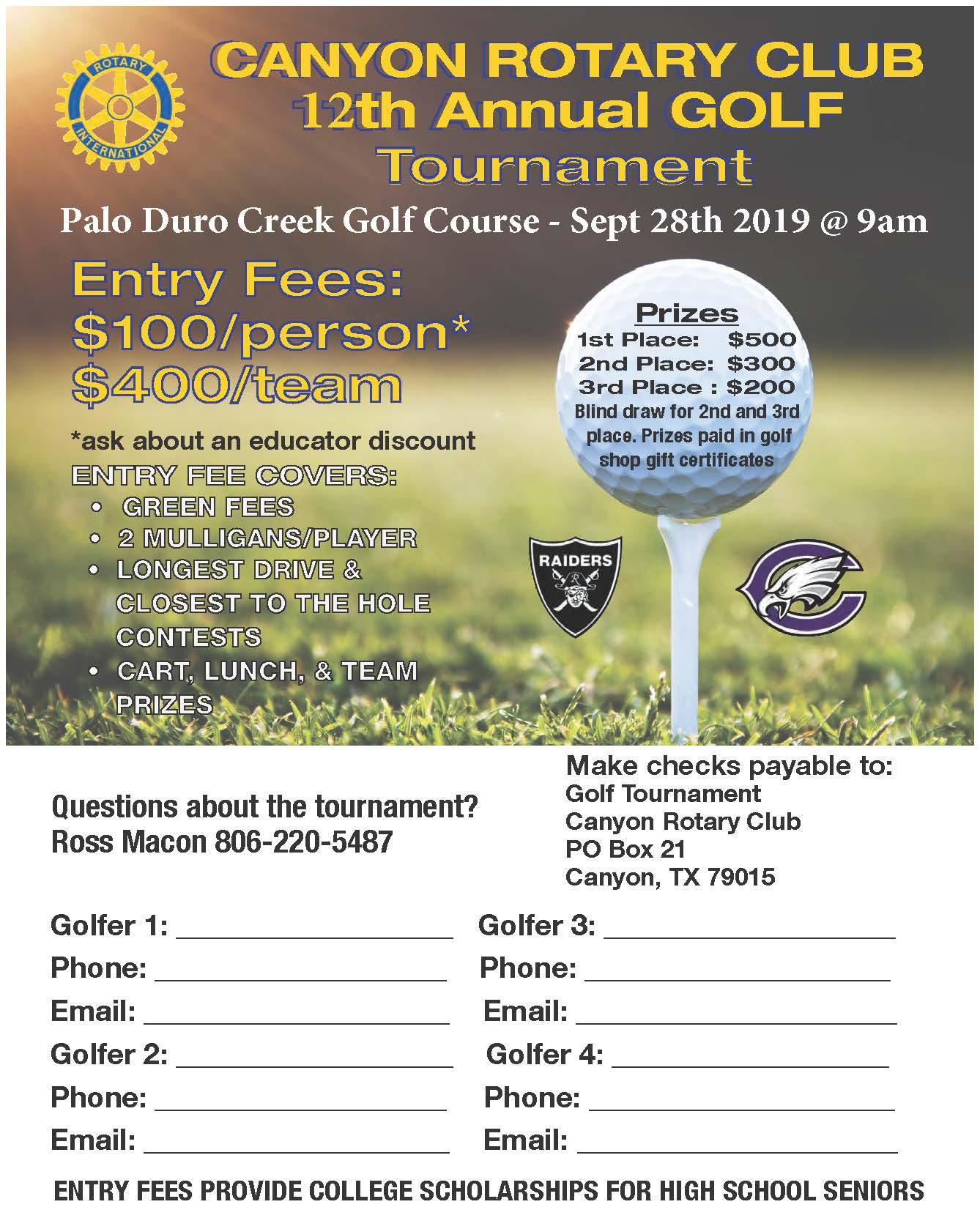 Rotary Club Golf Tournament - Sep 28, 2019 - Canyon Chamber