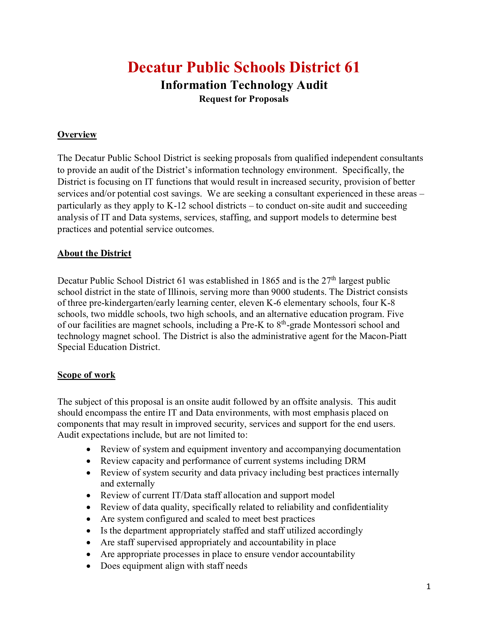 RFP for DPS 61 Technology & Processes Audit - Greater Decatur