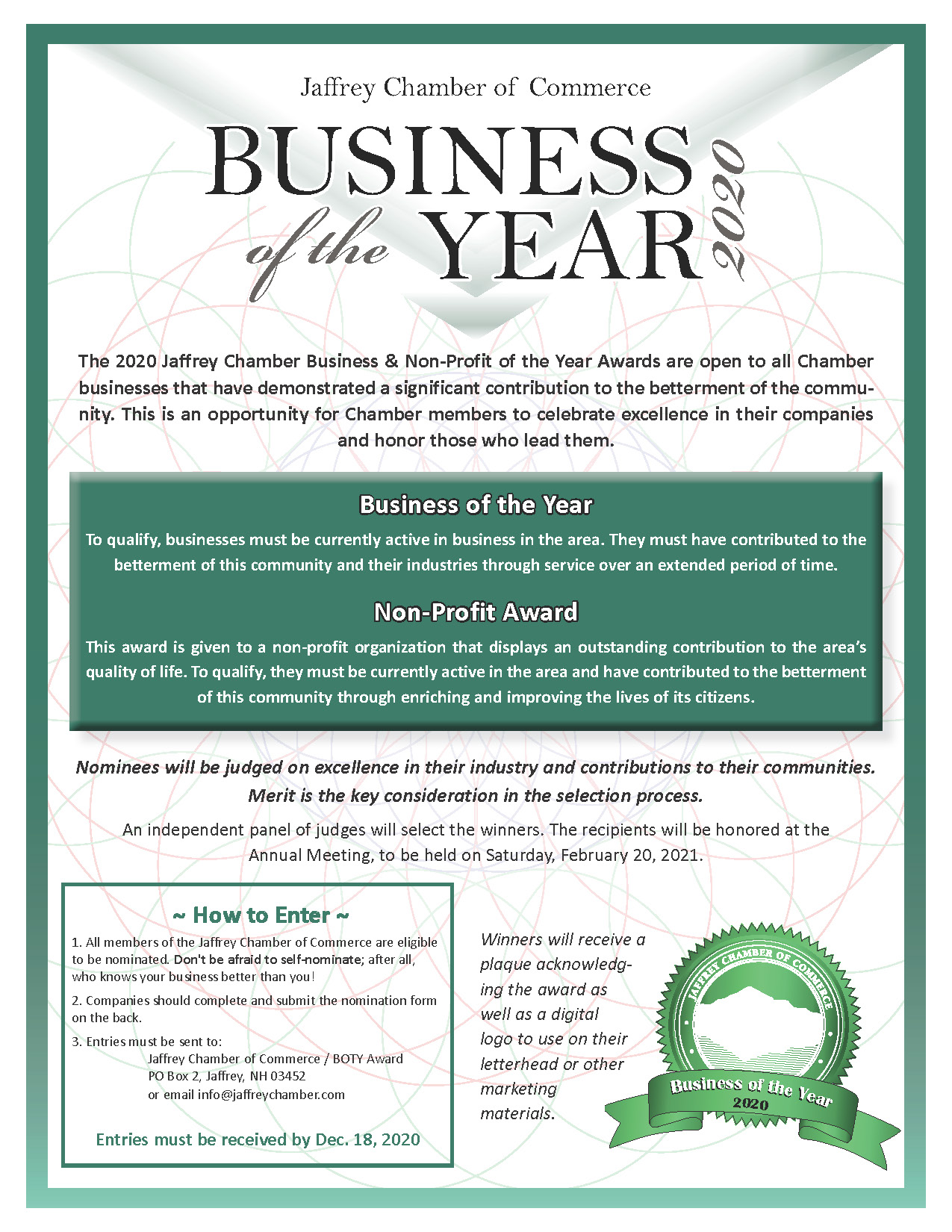 Click Here for the 2020 Business/Nonprofit of the Year Nomination Form