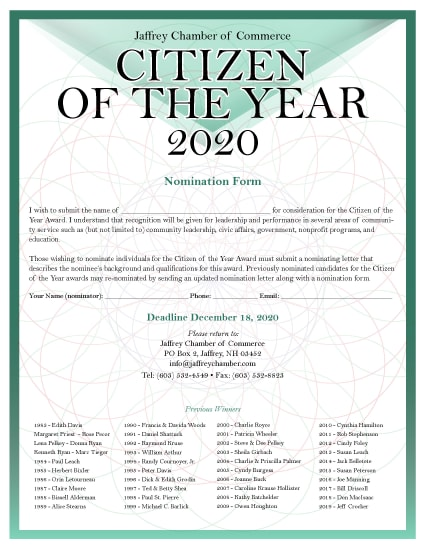 Click Here for the Citizen of the Year Nomination Form