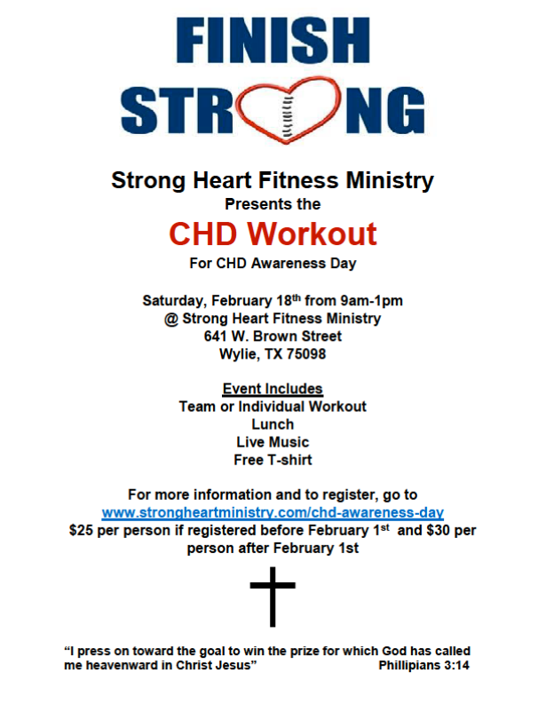 Strong Heart Fitness Finish Strong Chd Awareness Event Feb 18 2017 Wylie Chamber Of Commerce Tx