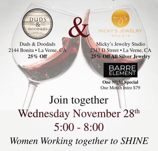 Join Us Tomorrow 11 28 From 5 8pm At Duds Doodadicky S Jewelry Studio Enjoy Wine Etizers And 25 Off Your Purchase Excluding Consignment