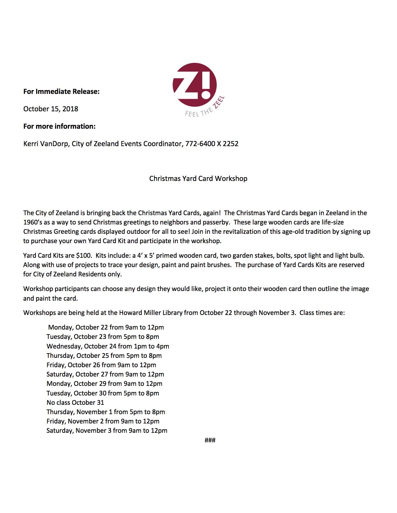 Zeeland Yard Cards Michigan West Coast Chamber Of Commerce Mi