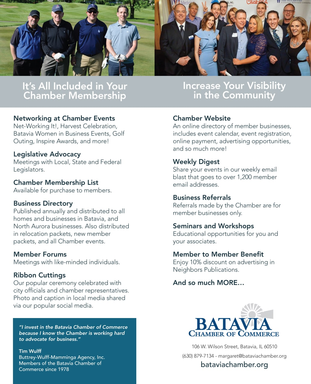 Batavia Chamber of Commerce Benefit Schedule Membership Benefits